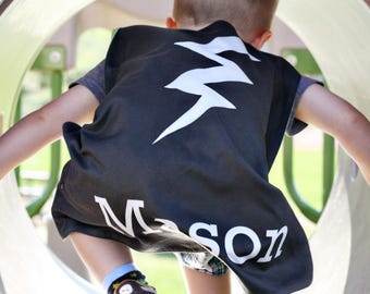 Black Bolt Personalized Superhero Cape - - Boys Birthday - Gift for Kids - Superhero party cape - Photo Prop - Flash - Pretend Play