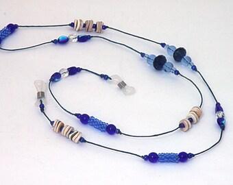 Oh So Blue Eye Glasses Lanyard, leash 28 inches long. Waxed Irish Linen Lanyard glass beads, shell heishi