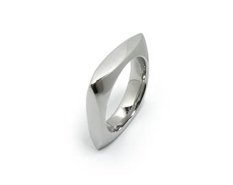 Stainless Steel Square rounder Wedding Ring Band