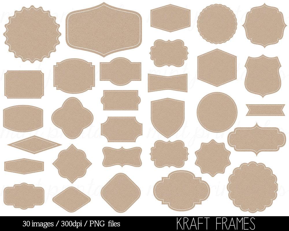Frames Kraft Paper Clipart Digital Label Frames Clip Art