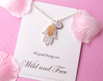 Hamsa hand necklace, hamsa hand, travel necklace, hamsa jewellery, Message card necklace, inspirational message necklace, MCNhamsa03