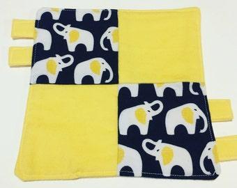 Organic Blue Lovey: 100% GOTS Certified Organic Baby Clutching Lovey Elephant Blanket