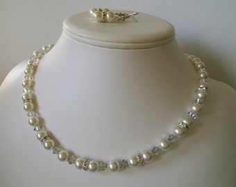 Single Strand Ivory Pearl Swarovski and Rhinestone Beaded Necklace and Earring Set    Great Brides or Bridesmaid Gifts