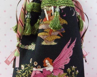 Fairy Bag - Drawstring Bag - Tarot Bag Pouch - Cotton Tarot Bag - Tarot Bag - Fabric Bags - Wicca Pagan - Runes Bag - Gift Bag - Tarot Deck