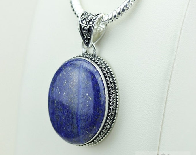 Lapis Vintage Filigree Setting 925 S0LID Sterling Silver Pendant + 4mm Snake Chain & FREE Shipping p3382