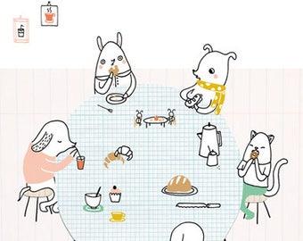 Print Bakery - illustration A4 | wall art, cute print, digital illustration, A4 poster, cute animals, kawaii, kids room decor, kids room art