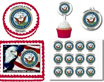 United States US Navy Edible Cake Cookie Toppers Plastic Cupcake Picks For Birthday Party