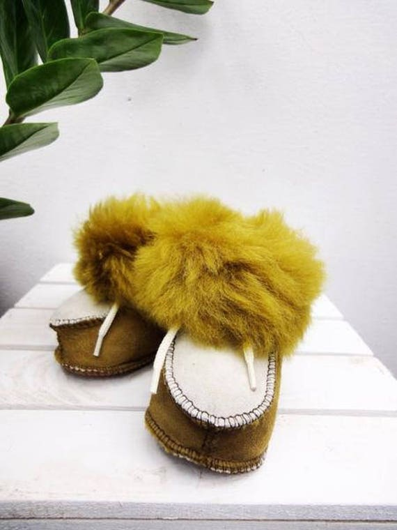 Genuine Leather Slippers. Natural Leather & Sheepskin Fur. Furry Slippers. Fluffy Boots For Kids.