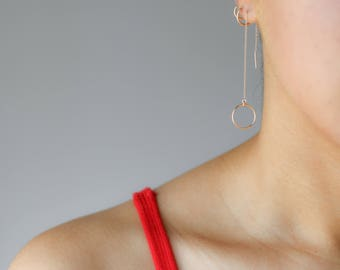 Gold Threader Circle Earring - Gold Filled Threader Earrings - Minimalist Earrings - Circle Earrings - Dainty Gold Earrings - Chain Earrings