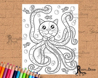 INSTANT DOWNLOAD Coloring Page - Cat-a-pus Coloring-Cat Octopus coloring, doodle art, printable