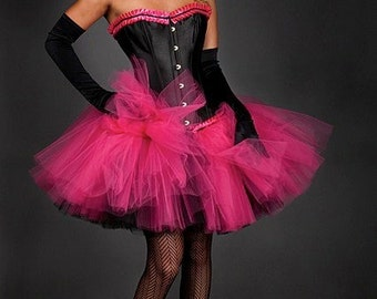 Custom Sizel hot pink and black hot pink and black tulle corset prom dress available in small- XL