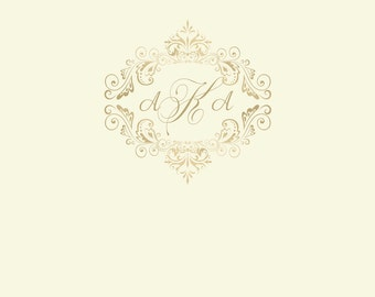 IVORY and GOLD MONOGRAM Printable Party 72x39 Backdrop - You Print