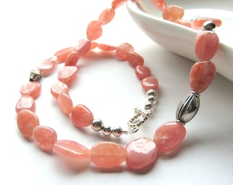 Rhodochrosite Beaded Necklace, Pastel Peach Gemstones, Sterling Silver Toggle Clasp, Gemstone Fashion Necklace, One of a Kind, Gift for Her