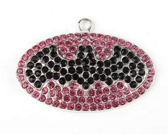 1 x Pink and Black Bat Girl Rhinestone Pendant