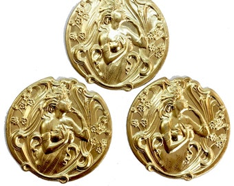 Brass Lady Stampings, 3 Piece, Bohemian Lady, Lady Smelling Flowers, Jewelry Supplies, Raw Brass, B'sue Boutiques, 35mm, Item06206