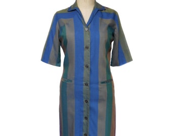vintage 1960's striped shirtdress / Laura of Dallas / bold stripes / 50s 60s day dress / cotton / women's vintage dress / tag size 8