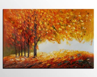 Autumn Tree Oil Painting, Landscape Painting, Canvas Painting, Large Wall Art, Abstract Canvas Art, Original Oil Painting, Abstract Painting