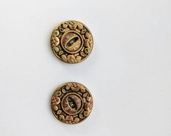 Vintage 30s/40s Brass Plated Art Deco Buttons
