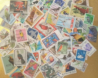 BiRDs on Used Postage Stamps Collection. Lovely Worldwide Lot of 75.   Lot #2.