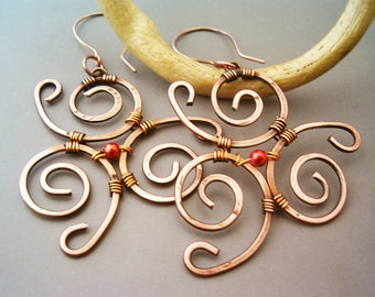 Wire Wrapped Earrings Spiral Hammered Copper - wire wrapped jewelry handmade - Copper Jewelry