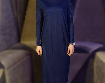 SALE, Designer dress, Long sleeve dress, Loose dress, Pencil dress, Romantic dress, Blue dress, Elegant dress, Waves, Chic dress