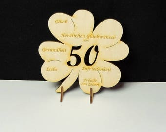 cloverleaf for Golden wedding anniversary, 50 years, 11,7cm 4,60 inch, with engraving congratulations