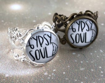 Gypsy Ring - Boho Ring - Thick Ring - Boho Stocking Stuffer For Women - Teen Girl Gift - Adjustable Ring - Gypsy Soul Words Phrase Jewelry