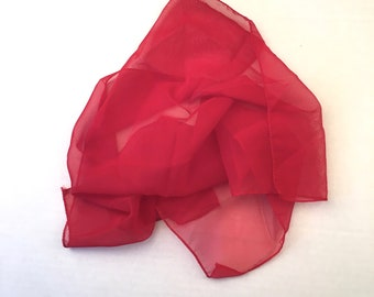 sheer cherry red square chiffon scarf 60s vintage head hair wrap