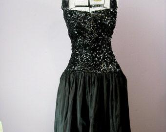 Vintage 40s Dress // Black Party Dress // Drop Waist Full Skirt Dress  // Vintage 1940s Cocktail Dress // XS Small Silk Taffeta