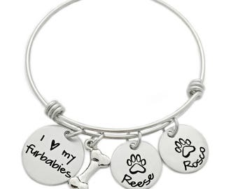 Personalized I Love My Furbabies Bracelet - Engraved Jewelry - Expandable Bangle - Dog Jewelry - Pet Bracelet - Pet Lover - Animals - 1013
