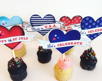 4th of July tags, Printable 4th of July cupcake toppers, 4th of July decor, July 4th party decor, Printable july 4th favor tags, Heart tags.