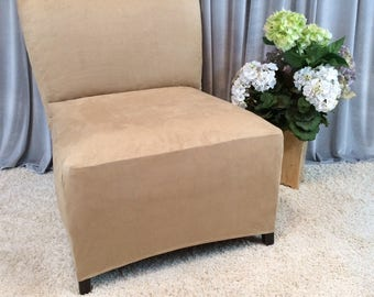 More Colors. Slipcover Beige Suede Chair Cover For Armless ...