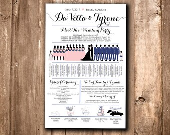 Silhouette Program Ceremony Program Timeline Program Fan Silhouette Wedding Program Fan Silhouette Fan Program Wedding Fan Program Printable