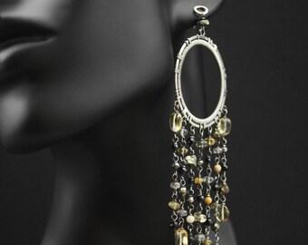 Long silver chandelier earrings w. golden gems - large luxurious gemstone earrings, spinel tourmalinated quartz pyrite citrine yellow black