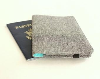Linen Passport Wallet; Small Passport Card Wallet; Travel Wallet in Charcoal Linen and Aqua - READY to SHIP