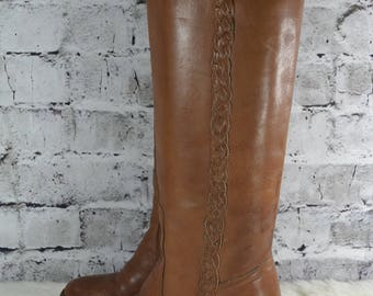 vtg 70s 80s campus tall braided leather zip knee high womens stacked heel boots 7.5M Brazil