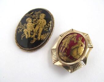 Vintage Florenza Brooch Pins, Glass Cabochon, Romantic Brooch, Damascene, Scarf Pin, Germany, Mid Century Brooch, Moonlilydesigns, Romantic