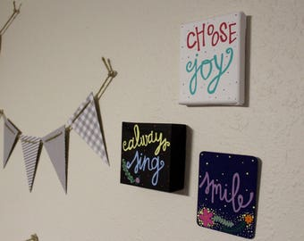 Hand Painted Canvas - Small Canvases - Collage Filler Canvases - Hand Lettered Wall Decor - Custom Canvas
