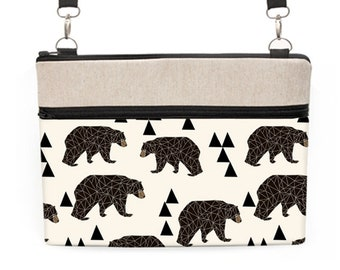 Bear Laptop Bag, Woodland iPad Pro 10.5 Crossbody, Woodland Laptop Bag, Dell Laptop Tote, Animal Laptop Bag - brown bears triangles in cream