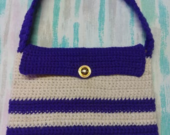 Purple and Off-White Crochet Hand Bag