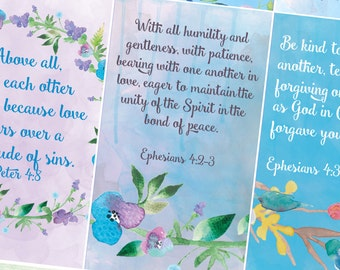 Pocket Bible Verse Cards, Love, Marriage, Family, Relationships, Scripture Card, Printable, Bible Journaling, Watercolor, Bible Memorization