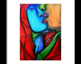 Cubism,Couple,Decor,Bedroom 8 X 10 (Not Framed)