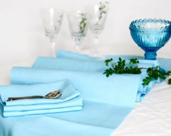 Light Blue Linen Table Runner, Handmade Linen Table Cloth, Wedding Decor, 100% Pure Linen, Mitered Corners