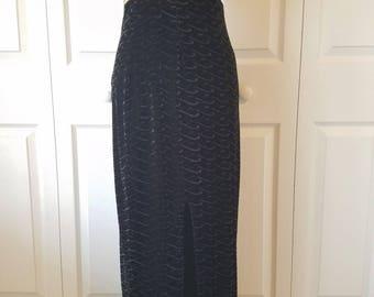 CACHE' womens size S vtg black velvet textured high slit elastic waist maxi skirt velvet black vintage high slit Cache maxi skirt