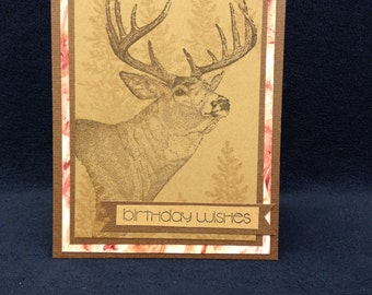 Buck Birthday Card.Unique card for male.Deer, hunting,outdoors card.Deer Fathers Day card.Card for Dad,Son,Man. Card with a buck and trees