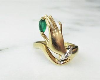 Unique 10K Green Emerald Glass Yellow Gold Diamond Ring