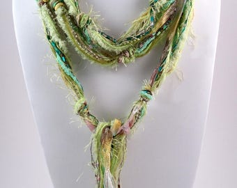 Lime Green Scarf, Boho Chic, Skinny Scarf, Women's Scarves, Fringe Scarf, Bohemian Scarf, Boho Scarves, Scarves for Women