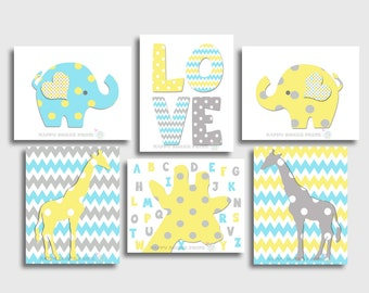 Set of 6 gender neutral nursery wall prints,elephant,giraffe crib bedding,yellow-blue- gray baby art,kids wall decor,chevron,alphabet, 123