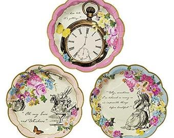 """Alice in Wonderland Vintage 7"""" paper plates set of 12"""