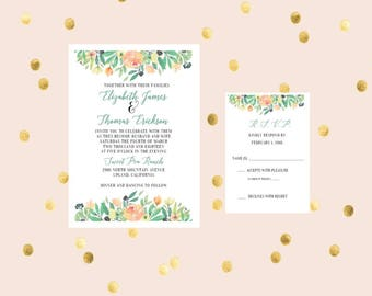 Downloadable Floral Printable Wedding Invitation and Response Card, Customized, Elegant and Simple Invitation, RSVP Card